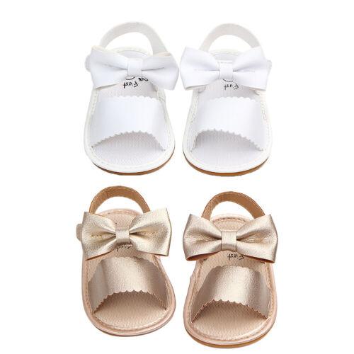 Infant Newborn Baby Girl Leather Shoes Summer Sandals Prewalker Princess Slipper