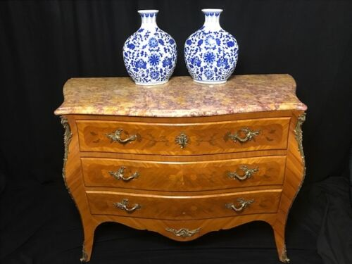 Antique-French-Louis-XVI-Style-Bombe-Marquetry-Marble-Top-Commode-Chest-Drawers
