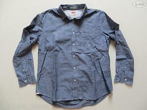 Levi-039-s-Jeans-Hemd-Herrenhemd-Gr-2-XL-XXL-blau-grau-meliert-SLIM-FIT-RAR