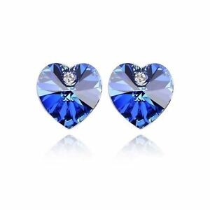 Image Is Loading Austrian Crystal Stone Elements Dark Blue Heart Shaped