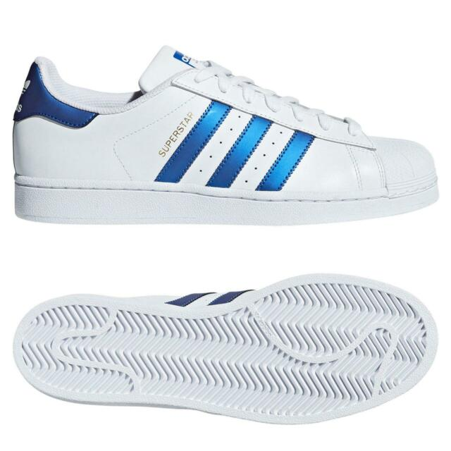 outlet store sale where to buy official images Adidas Originaux HOMME Blanc Superstar Baskets Coque Orteil Bleu Rétro Neuf