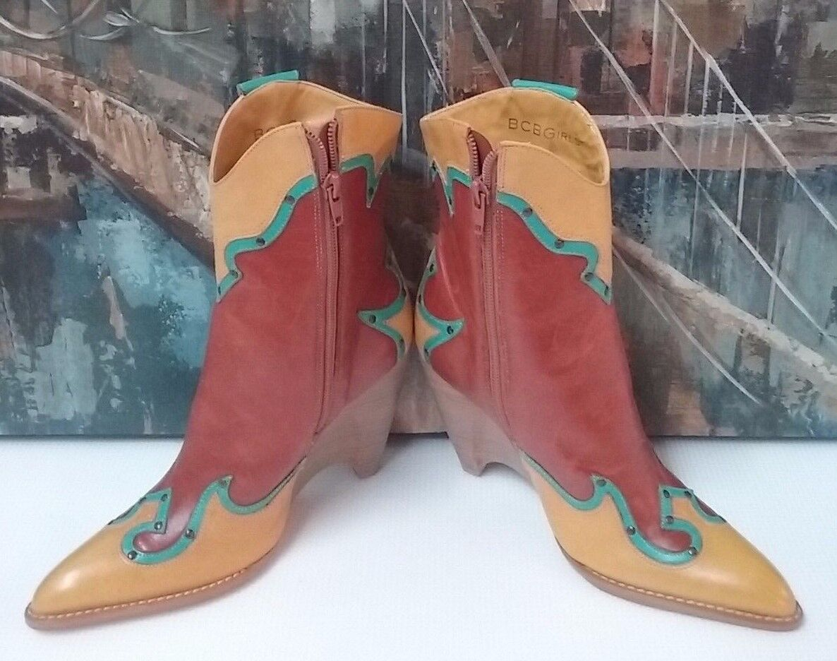 BCBG Girls MULTI Farbe Farbe Farbe Leather Cowboy Western Flower Stitch Stiefel Sz 6.5 B 6756b2