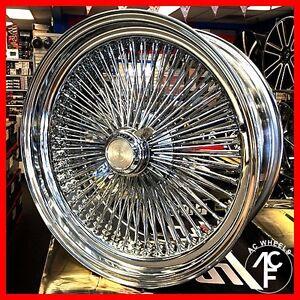 18x8 Fwd Wire Wheel 100 Spoke Wire Wheels Straight Lace Chrome