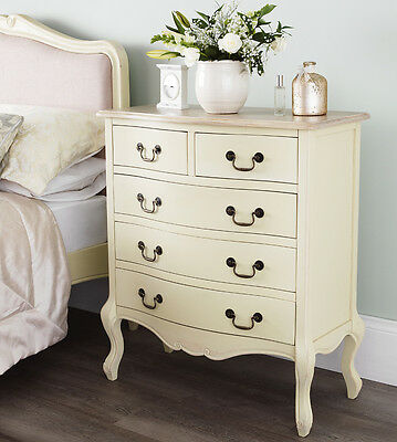 Juliette Shabby Chic Champagne Chest, Stunning Cream Chest of Drawers, ASSEMBLED