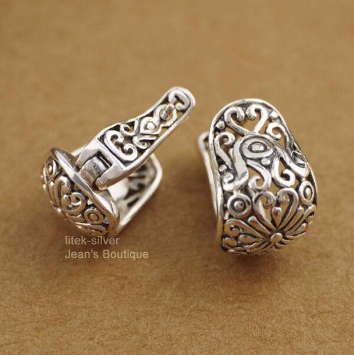 925 Sterling Silver Retro Filigree Oriental Huggie Hoop Women Earrings A1362
