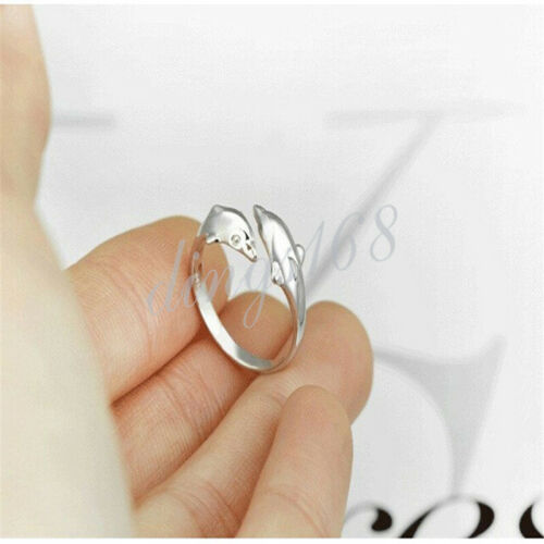 Hommes//Femmes Argent Sterling 925 Nickel-Libre Double dolphin 8 mm Wide Open Ring H37