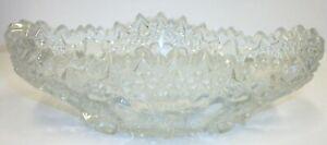 Art-Cut-Crystal-Hobstar-Sawtooth-Edge-Relish-or-Candy-Dish-Bowl