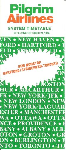 Airline Timetable Pilgrim 281084 Now Hartford to Toronto US