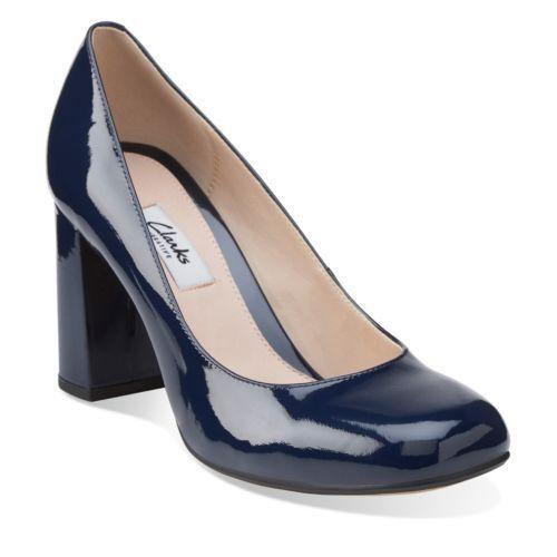 Clarks Narrative GABRIEL MIST Navy Court Patent Heel Real Leder Court Navy Schuhes 8 42 D 14b710