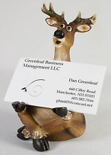 Business card holder deer theme by rivers edge products hand painted comic white tail deer business card holder office den desk tray new resin moose colourmoves