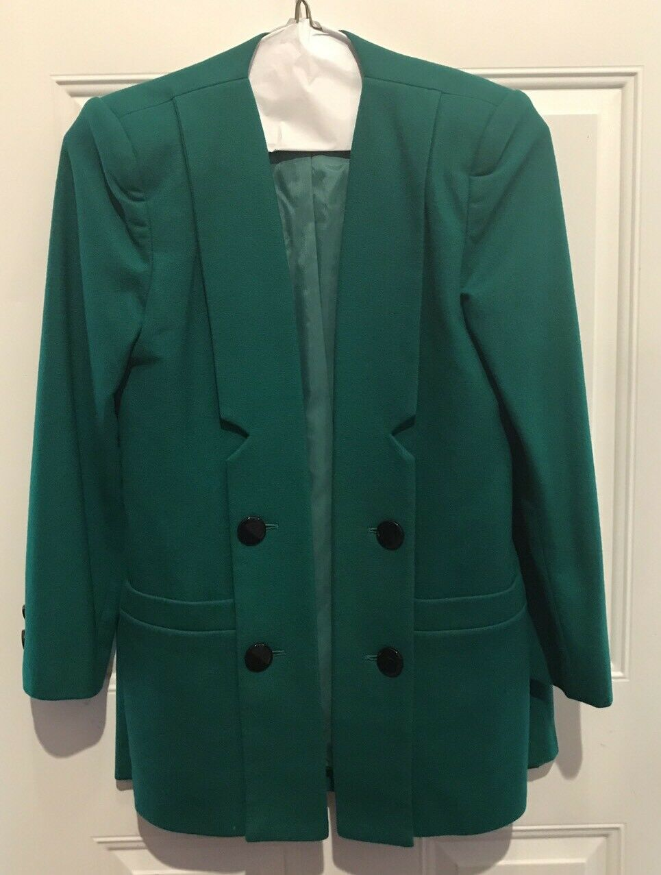 VINTAGE SASSON WOMENS TWO PC. Green WOOL BLEND SKIRT SUIT SZ 6 EUC 80's Glam