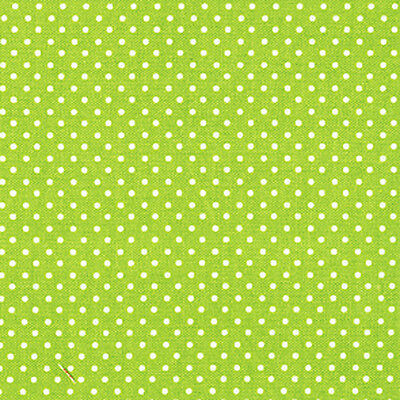 "COTTON UPHOLSTERY CURTAIN CLOTH FABRIC 2mm WHITE POLKA DOT YELLOW GREEN on 44""W"