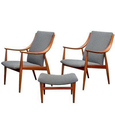Peter Hvidt Danish Modern Teak Lounge Easy Chairs & Ottoman Foot Rest