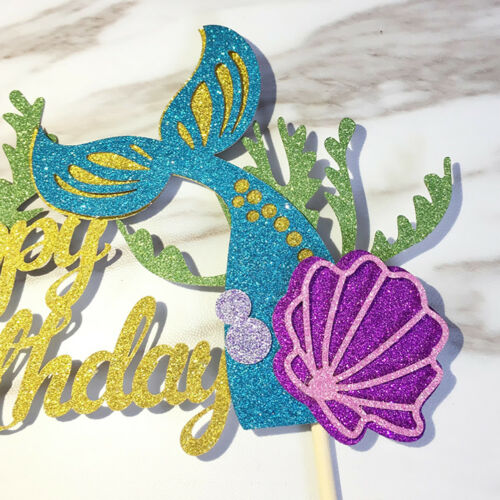 Starfish Mermaid Happy birthday Cake Toppers Cupcake Baby Shower DIY Gifts..