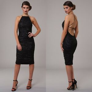 Dress Black Luxe Gold Womens Sequin Cocktail Party Midi Backless Design Honor Evening S1xqTZvwp