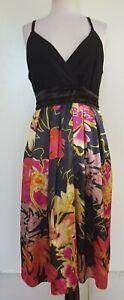 CITY-CHIC-Black-Knit-Bodice-Navy-Pinks-Gold-Satin-Floral-Skirt-Dress-Size-M