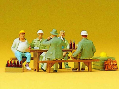 Preiser 10338 ouvriers dans la pause 5 personnages petit-déjeuner pause h0 NEUF