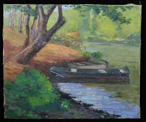Adaptable Ancienne Huile / Toile Signée Landais ? Paysage à La Barque Post Impressionnisme Soulager La Chaleur Et La Soif.