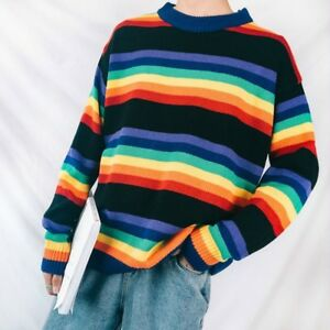 Men-Rainbow-Striped-Sweater-Pullover-Jumper-Knitted-Casual-Harajuku-Top-Fashion