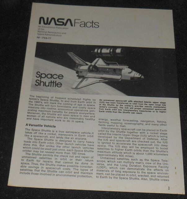 NASA Facts Space Shuttle 8 page Booklet 1977