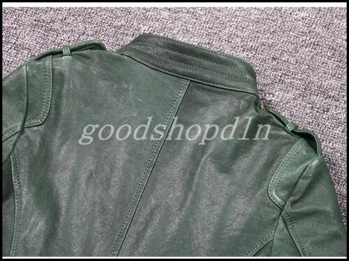 Nueva camiseta para mujer Motocicleta de Cuero Genuino Abrigo Coreano Ajustado Corto Chaqueta Prendas de abrigo