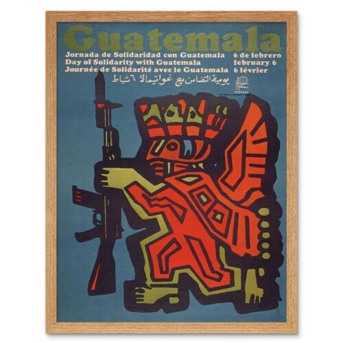 Propaganda Cuba Guatemala Revolution Maya Rifle Solidarity 12X16 Framed Print