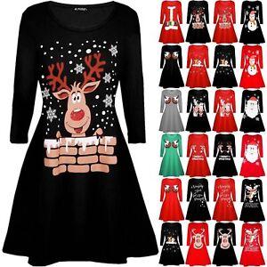 442376c1595 UK Womens Christmas Jumper Dress Santa Snowman Long Sleeve Ladies ...