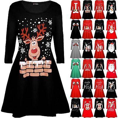 UK Womens Christmas Jumper Dress Santa Snowman Long Sleeve Ladies Mini 6-24*Swng