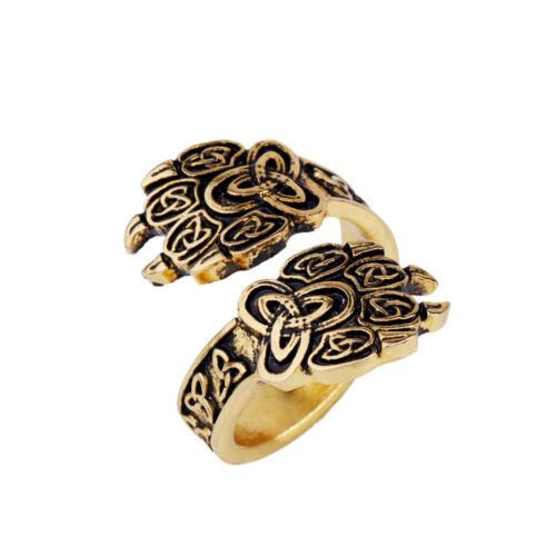 Viking Wolf Bear Paw Bague Dieu Veles symbole avec Irlandais Knot Trinity anneaux slave
