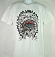 nwt Men's White Skull Indian Head Dress Chief Feathers Shirt - Ring Of Fire