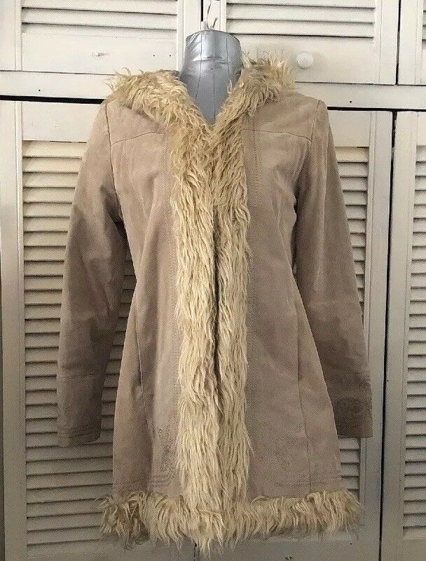 Afghan Coat Genuine Suede Leather Hooded Coat With Faux  Fur Trims Size 10 New