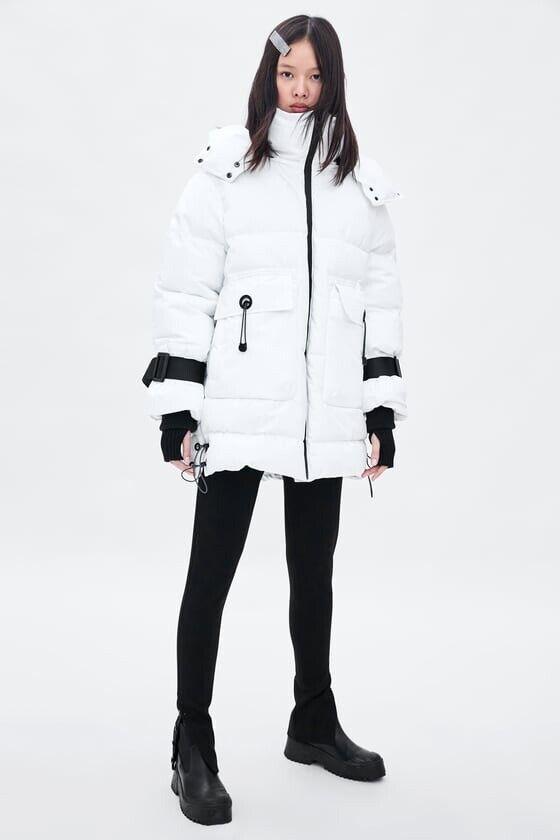 Zara AW18 kvinna begränsad Edition Sguldna Dupont Puffer Coat vit Storlek S - M NWT