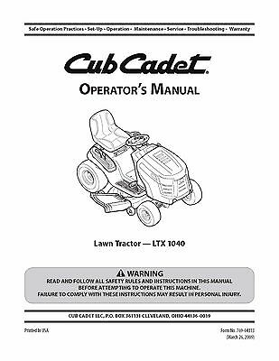 [ZTBE_9966]  Cub Cadet Operator's Manual Model No. LTX 1040 | eBay | Cub Cadet Ltx 1040 Mower Schematics |  | eBay
