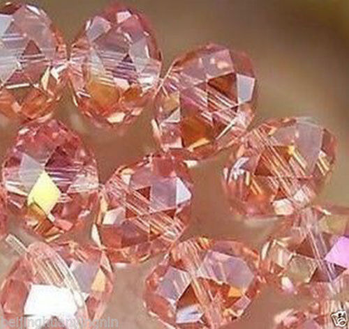 95 Pink AB Crystal Glass Faceted Rondelle Loose Beads 4x6mm
