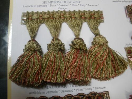 1Yd  Malabar Treasure Single Tassel Fringe-Gimp Top,drapery upholstery sew craft
