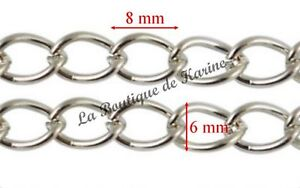 4-M-DE-CHAINE-METAL-ARGENTE-SANS-NICKEL-8-x-6-mm-CREATION-BIJOUX-PERLES