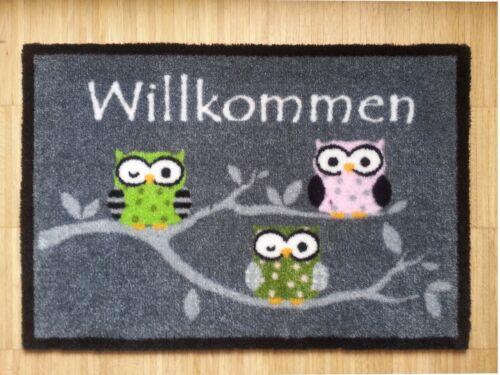 Waschbare Fußmatte Eulen Schmutzfangmatte  NEU 40 x 60 cm OWL Eule Design