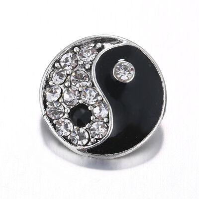 10pcs 18mm Ribbons Rhinestone Alloy Snap Button fit noosa Snap Bracelet necklace