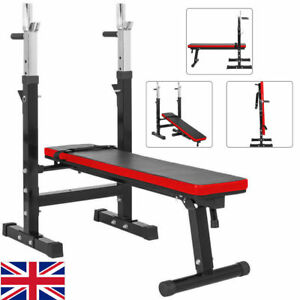 Adjustable Folding Weight Bench Barbell Dip Station Flat