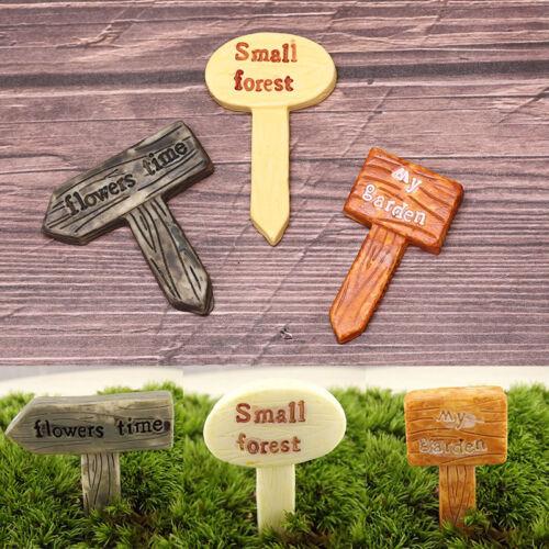 3X Sign board figurine micro landscape signboard miniatures fairy garden decor X