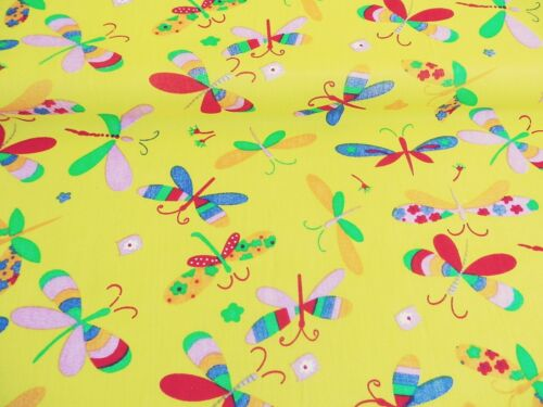 NEW POLYCOTTON Fabric Nursery Children KIDS Dragonfly Yellow Craft Reduced Price
