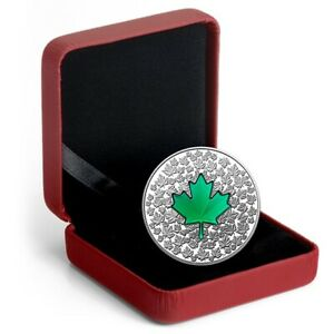 2014-20-1oz-Silver-Canada-Fine-Silver-Green-Maple-Leaf-Impression-w-Box-amp-COA