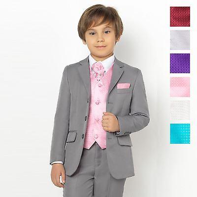 Boys Diamond Waistcoat Set in Pink