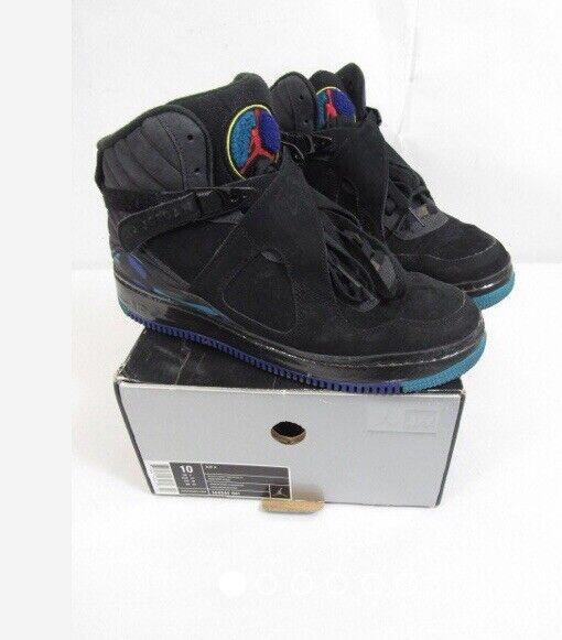 Nike Air Jordan VIII 8 Retro Black Purple Aqua Mens Size 10 bred 305381-041 2007