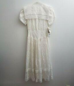 NEW-Gunne-Sax-Jessica-McClintock-Lace-White-Long-Dress-Bib-Prairie-VTG-80s