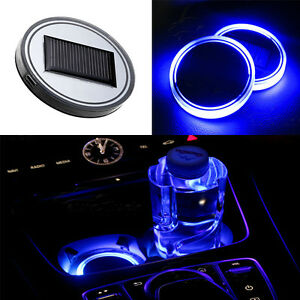 2pcs universal solar led light cup holder bottom pad cover car interior decor ebay. Black Bedroom Furniture Sets. Home Design Ideas
