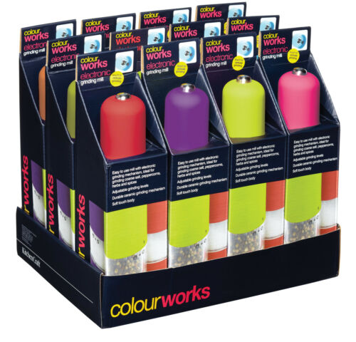 Kitchencraft Colourworks électrique Sel//Poivre Broyeur Bouton de Presse