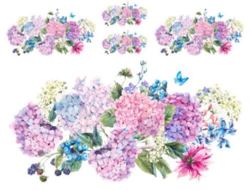 Shabby Pastel Watercolor Blue Hydrangeas Swag Bouquet Waterslide Decals FL521