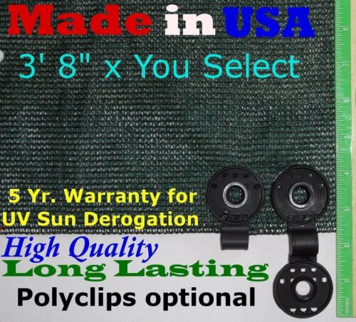 "Green//Black 3/' 8/"" x 90/% Shade Cloth Privacy Screen Wind Sun Block Fabric"
