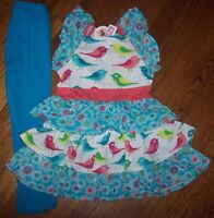 Jelly The Pug Twirly Tiers Floral/birds Ellie Dress/leggings Set 5 Girl Blue